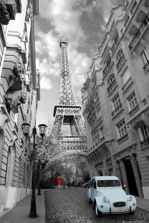 Posters Plakát, Obraz - Paříž - red girl blue car, (61 x 91,5 cm)