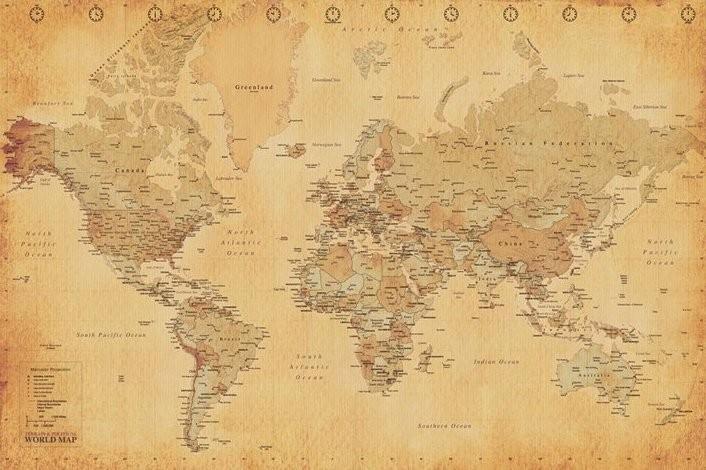 Posters Plakát, Obraz - Mapa světa - starý styl, (91,5 x 61 cm)