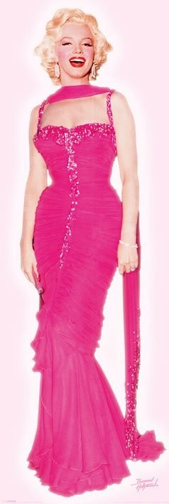 Posters Plakát, Obraz - MARILYN MONROE - pink dress, (53 x 158 cm)