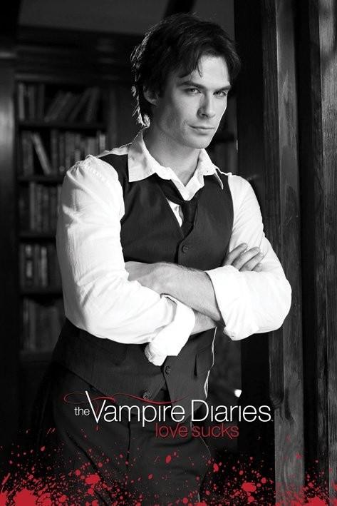 Posters Plakát, Obraz - Vampire Diaries - Damon (B&W), (61 x 91,5 cm)