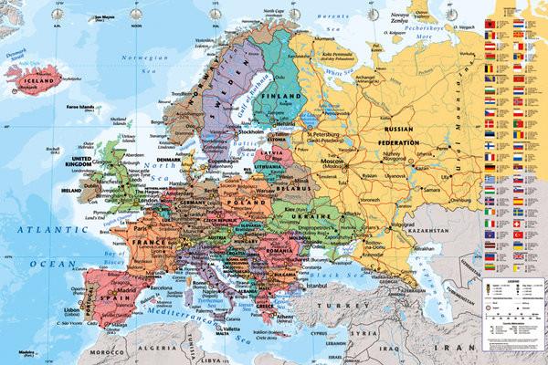 Posters Plakát, Obraz - Mapa Evropy - politická, (91,5 x 61 cm)