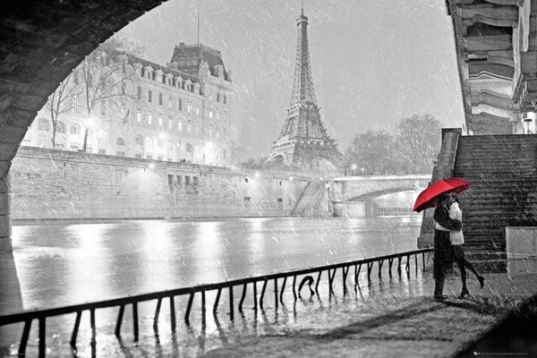 Posters Plakát, Obraz - Paříž - Eiffel tower kiss, (91,5 x 61 cm)