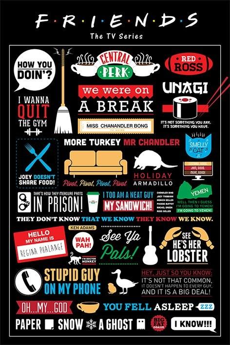 Posters Plakát, Obraz - PŘÁTELÉ - FRIENDS - infographic, (61 x 91,5 cm)