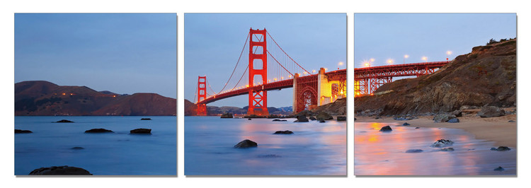 Posters Obraz San Francisco - Golden Gate bridge (Zlatá brána), (210 x 70 cm)