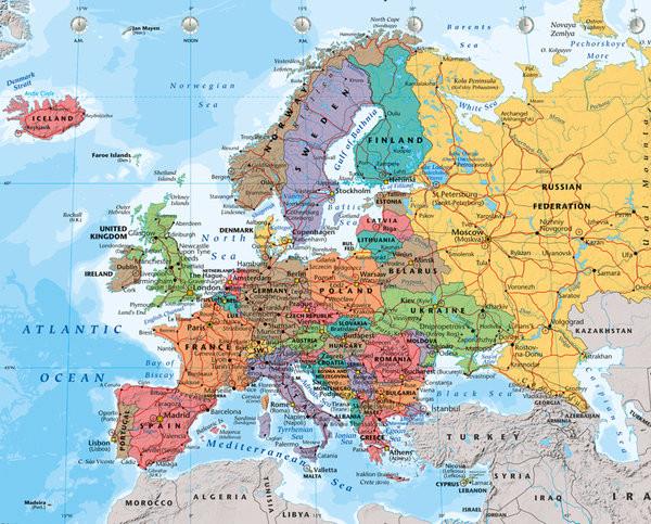 Posters Plakát, Obraz - Mapa Evropy - politická 2014, (50 x 40 cm)