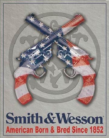Posters Plechová cedule S&W - SMITH & WESSON - American Born, (31,5 x 40 cm)