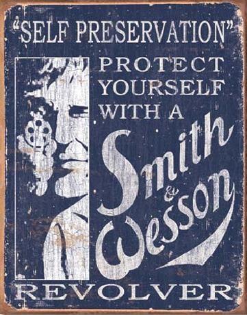Posters Plechová cedule S&W - SMITH & WESSON - Self Preservation, (31,5 x 40 cm)