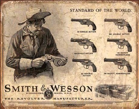 Posters Plechová cedule S&W - SMITH & WESSON - Revolver Manufacturer, (40 x 31,5 cm)