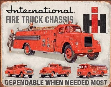 Posters Plechová cedule INTERNATIONAL FIRE TRUCK CHASS, (41 x 32 cm)