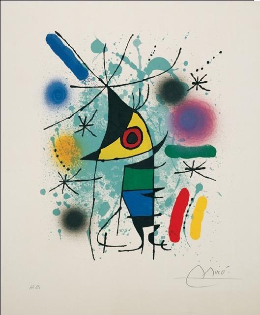 Posters Reprodukce Joan Miró - Zpívající ryba, (60 x 80 cm)