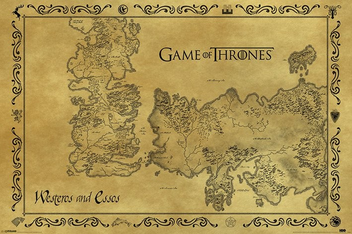 Posters Plakát, Obraz - Hra o Trůny (Game of Thrones) - mapa starý styl, (91,5 x 61 cm)
