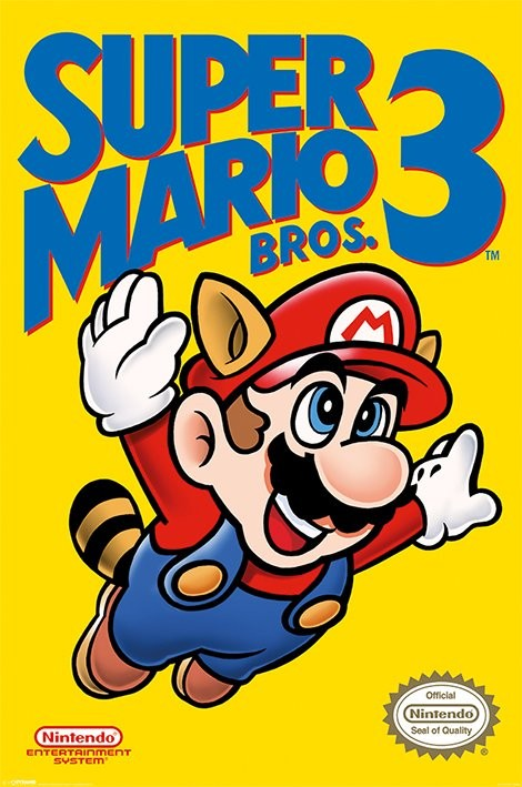 Posters Plakát, Obraz - Super Mario Bros. 3 - NES Cover, (61 x 91,5 cm)