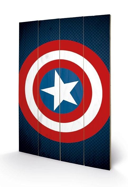 Posters Obraz na dřevě - Avengers Assemble - Captain America Shield, (40 x 59 cm)