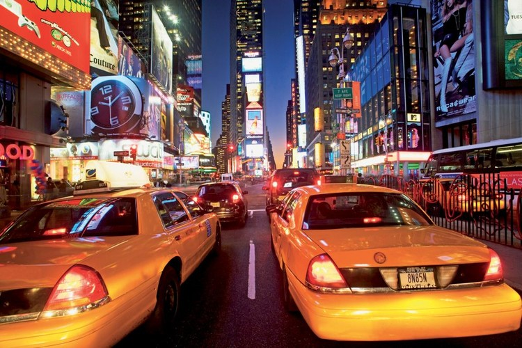 Posters Fototapeta New York - taxi, (315 x 232 cm)
