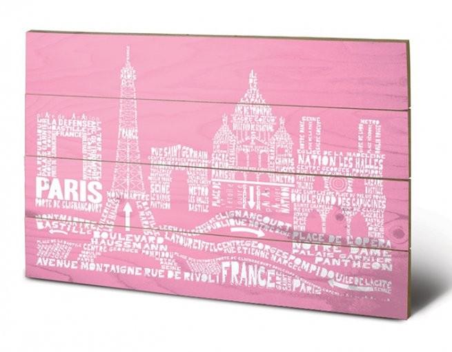 Posters Obraz na dřevě - Paříž - Citography, (59 x 40 cm)