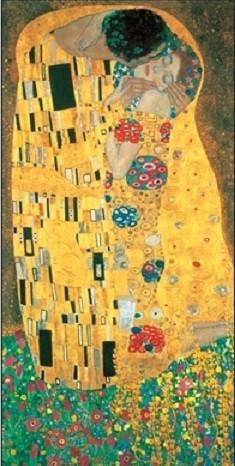 Posters Reprodukce Gustav Klimt - Polibek (část), (25 x 50 cm)