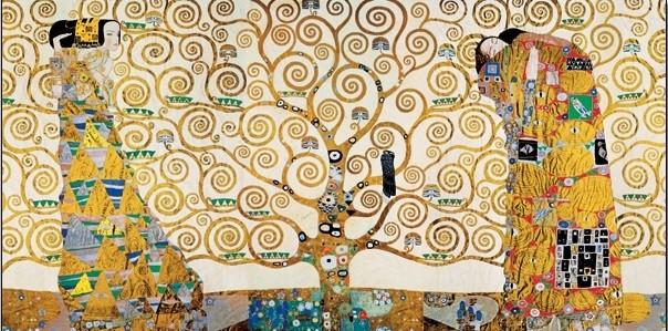 Posters Reprodukce Gustav Klimt - Strom života, Naplnění (Objetí), Čekání - vlys z paláce Stoclet, 1909, (100 x 50 cm)