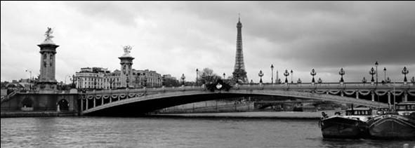 Posters Reprodukce MURAT TANER - Paříž - Most Alexandra III. s Eiffelovou věží, (100 x 35 cm)