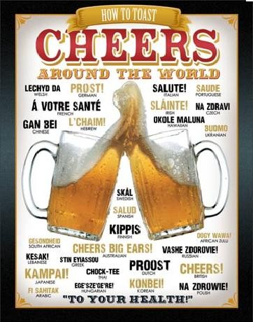 Posters Plechová cedule PIVO - Cheers Around The World, (31,5 x 40 cm)