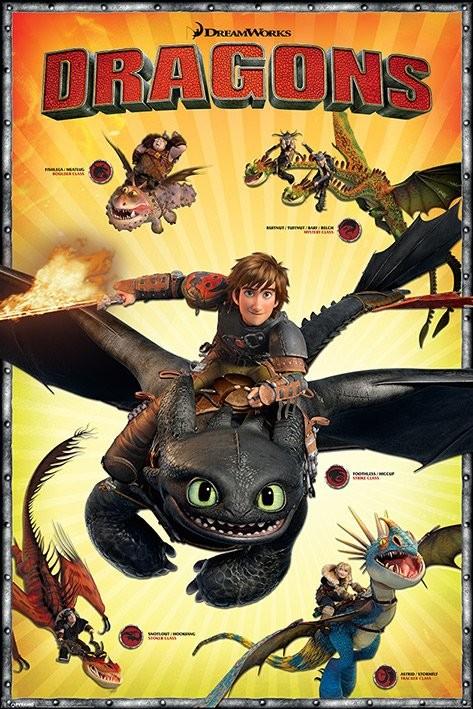 Posters Plakát, Obraz - Jak vycvičit draka 2 - Characters, (61 x 91,5 cm)