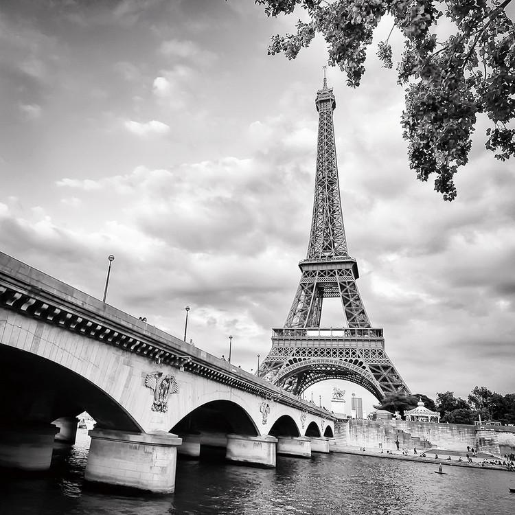 Posters Skleněný Obraz Paříž - Eiffelova věž, (80 x 80 cm)