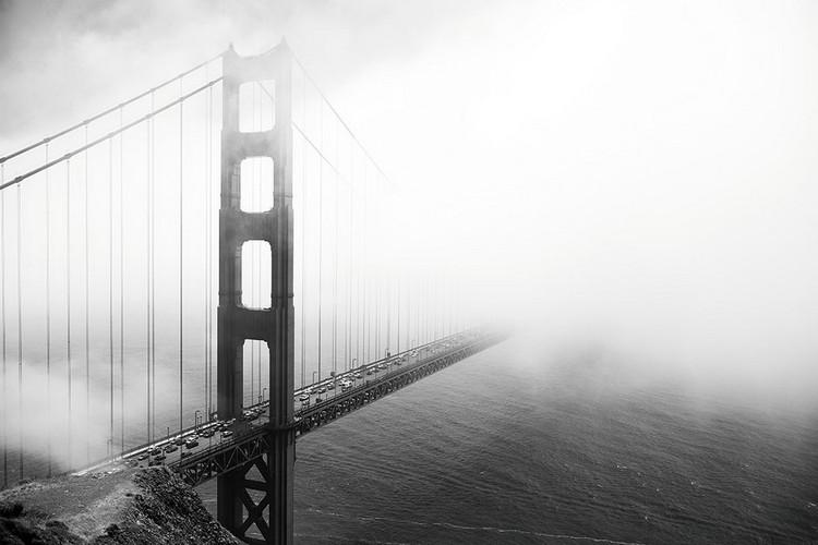Posters Skleněný Obraz San Francisco - Golden Gate v mlze, (90 x 60 cm)