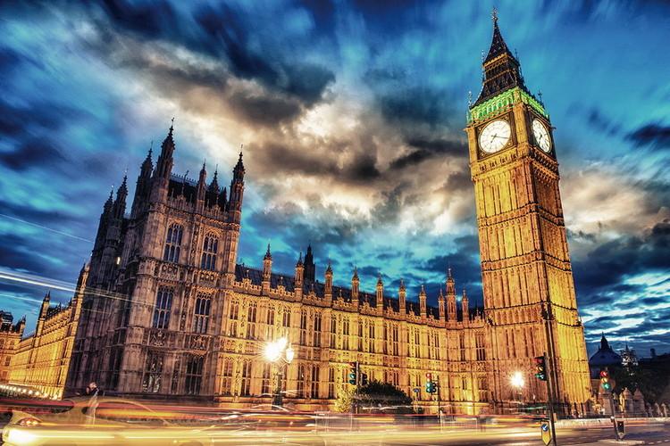 Posters Skleněný Obraz Londýn - Big Ben, (90 x 60 cm)