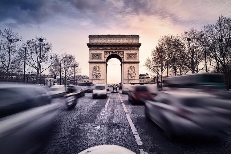 Posters Skleněný Obraz Paříž - Vítězný oblouk při západu slunce, (90 x 60 cm)