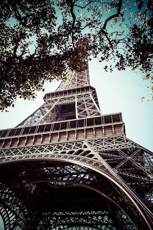 Posters Skleněný Obraz Paříž - Eiffelova věž, (90 x 60 cm)