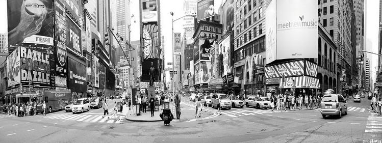 Posters Skleněný Obraz New York - Ruch na Times Square, (120 x 40 cm)