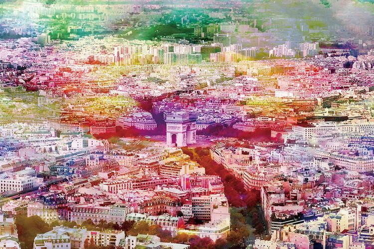 Posters Skleněný Obraz Paříž - Barevná řeka, (120 x 80 cm)