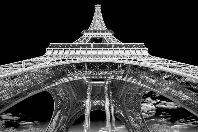 Posters Skleněný Obraz Paříž - Eiffelova věž b&w, (120 x 80 cm)