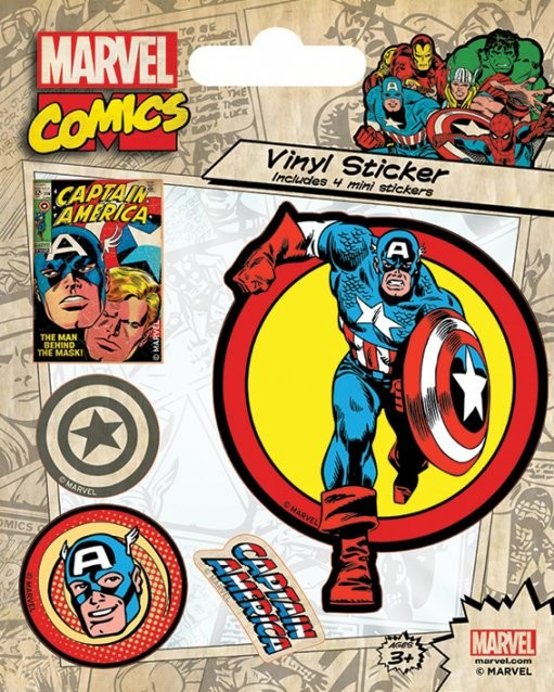 Posters Samolepka Marvel Comics - Captain America Retro