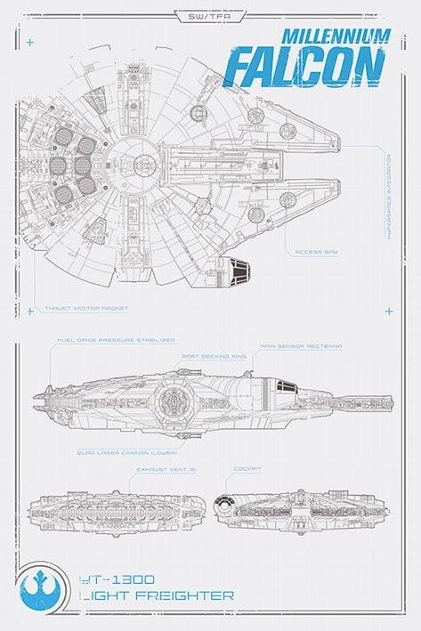Posters Plakát, Obraz - Star Wars VII: Síla se probouzí - Millennium Falcon Plans, (61 x 91,5 cm)