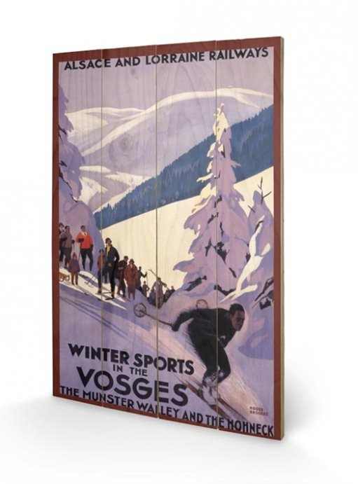 Posters Obraz na dřevě - Winter Sports In The Vosges, (40 x 59 cm)