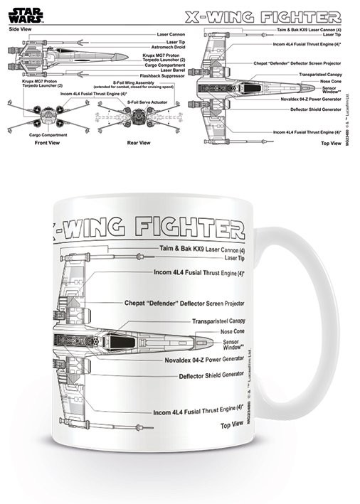 Posters Hrnek Star Wars - X-Wing Fighter Sketch