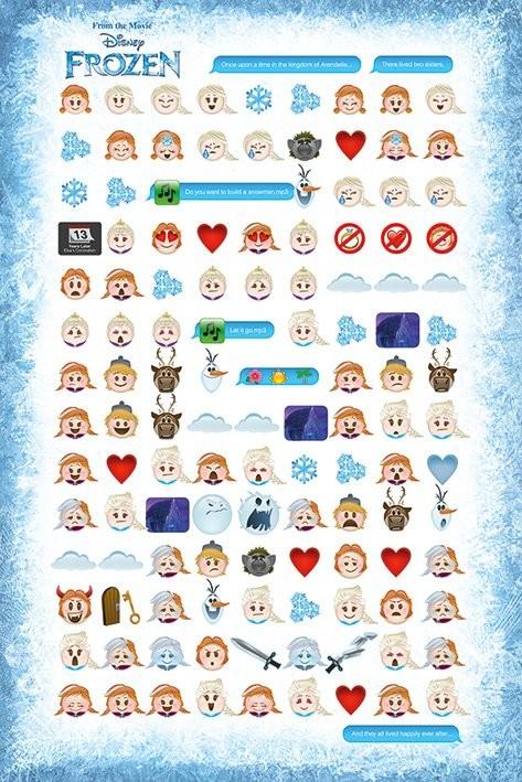 Posters Plakát, Obraz - Ledové království - Told by Emojis, (61 x 91,5 cm)