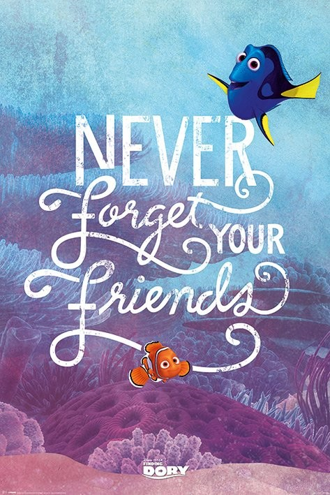Posters Plakát, Obraz - Hledá se Dory - Never Forget Your Friends, (61 x 91,5 cm)