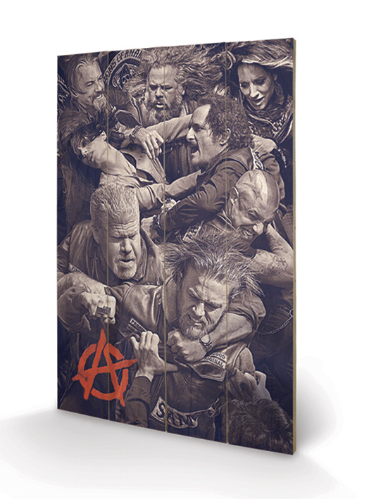 Posters Obraz na dřevě - Sons of Anarchy (Zákon gangu) - Fight, (40 x 59 cm)