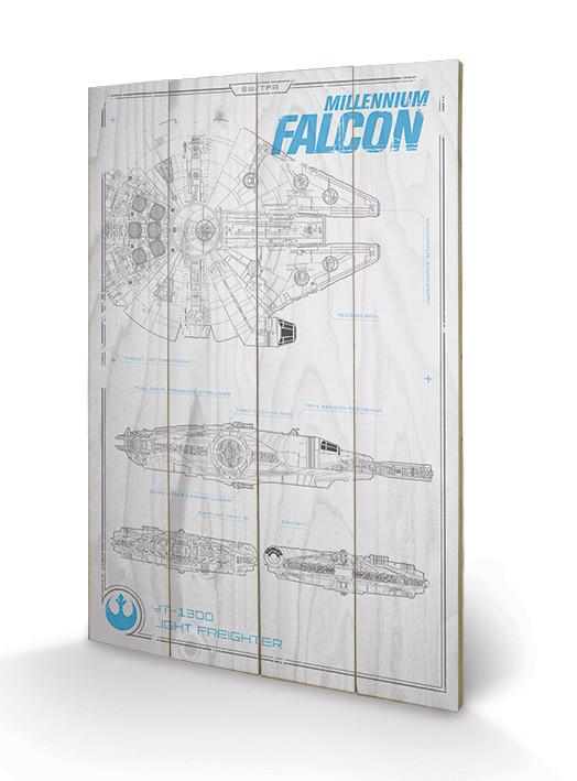 Posters Obraz na dřevě - Star Wars VII - Millennium Falcon Plans, (40 x 59 cm)