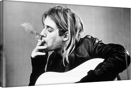 Posters Obraz na plátně Kurt Cobain - smoking, (55 x 30 cm)