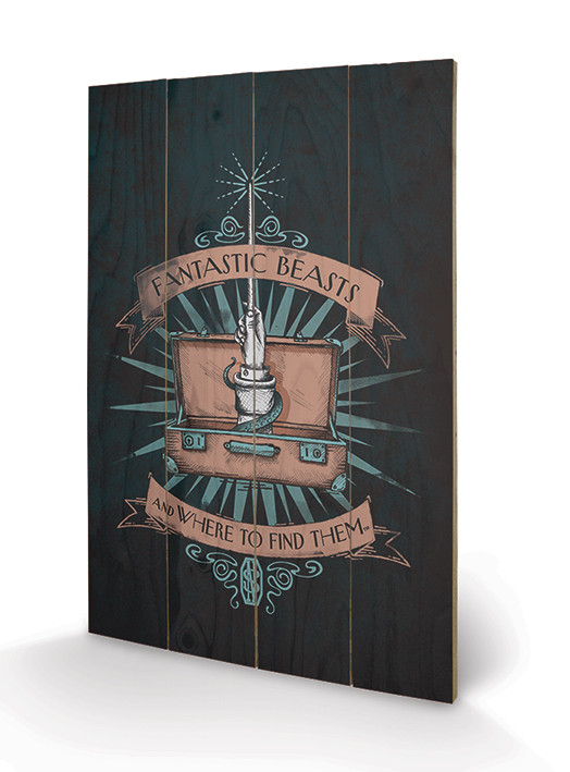 Posters Obraz na dřevě - Fantastická zvířata a kde je najít - Magical Case, (40 x 59 cm)
