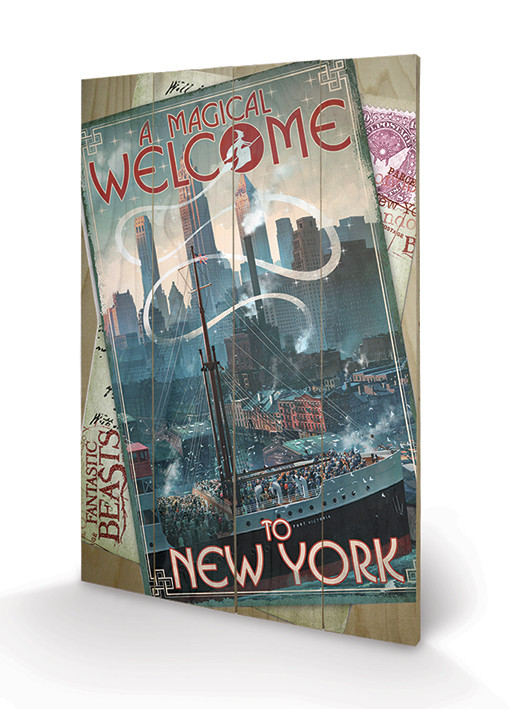 Posters Obraz na dřevě - Fantastická zvířata a kde je najít - New York, (40 x 59 cm)