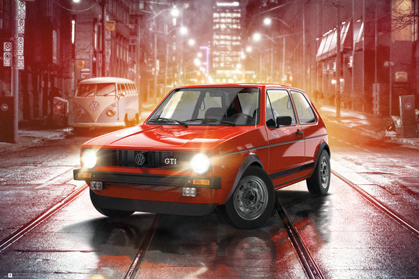 Posters Plakát, Obraz - VW Golf I - GTI, (91,5 x 61 cm)