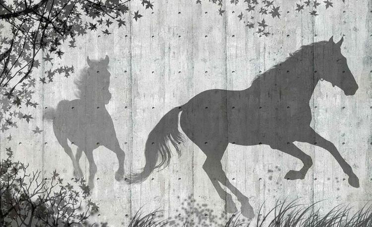 Posters Fototapeta Koně Strom Leaves Wall, (368 x 254 cm) 368x254 cm - 115g/m2 Paper