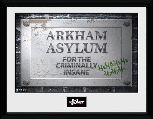 Posters Batman Comic - Arkham Asylum Sign rám s plexisklem
