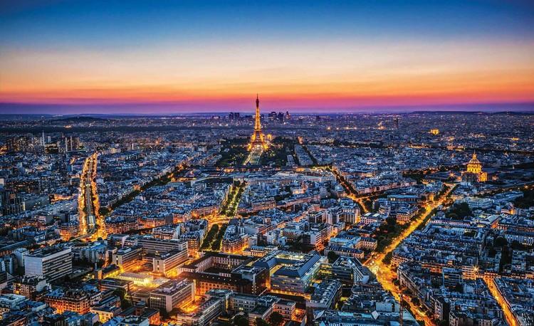 Posters Fototapeta Město Paříž Západ slunce Eiffelova věž, (184 x 254 cm) 184x254 cm - 115g/m2 Paper
