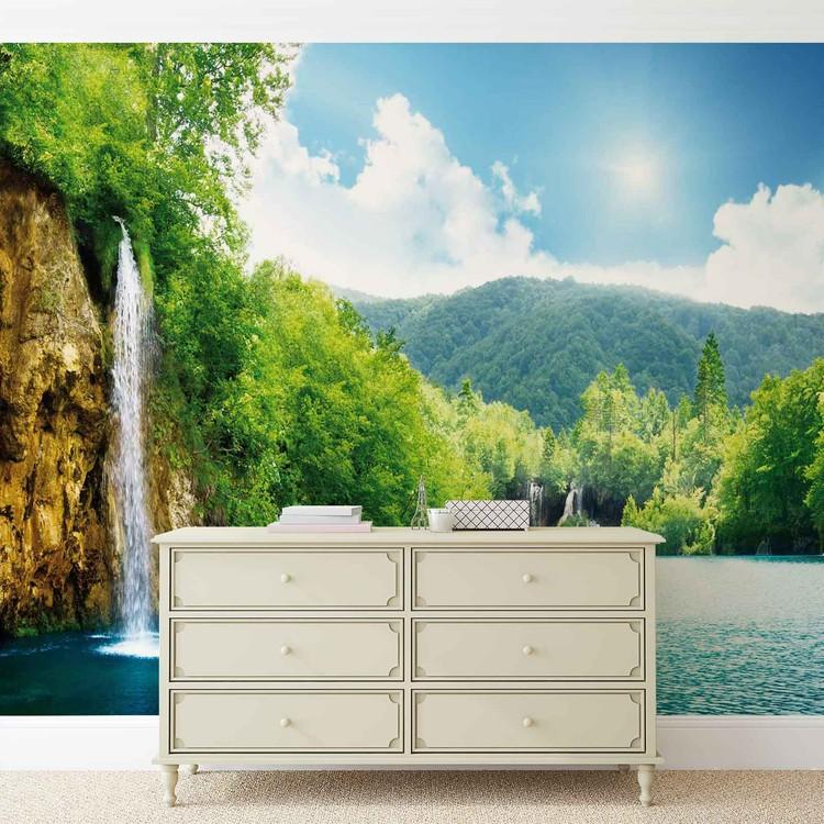 Posters Fototapeta Waterfall Lake 104x70.5 cm - 130g/m2 Vlies Non-Woven