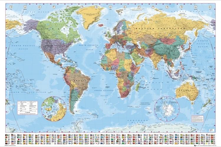 Posters Plakát, Obraz - Mapa světa - politická, (91,5 x 61 cm)