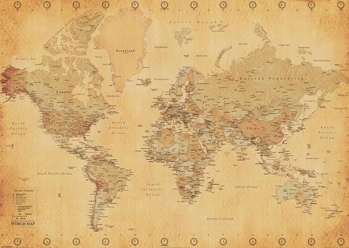 Posters Plakát, Obraz - Mapa světa - starý styl, (140 x 100 cm)